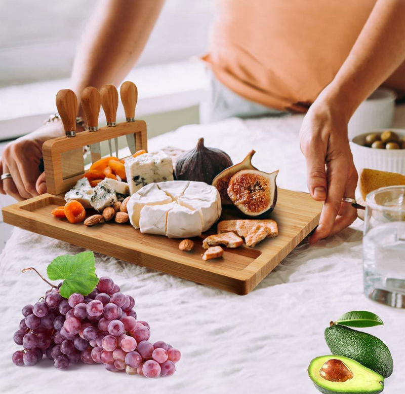 Plant - High-Quality Bamboo Cheese Board with a Professional Four-Piece Knife Set