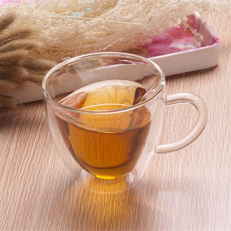 Heart Love Shaped Double Wall Glass Cup  Resistant Kungfu Tea Cup Milk Lemon Juice Cup Drinkware Lover Coffee Cups Mug Gift6