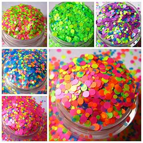 50G Matte Mix Polyester Glitter Neon Confetti Glitter Matte Dot Confetti Glitter Chunky Glitter hot Pink Kuning Titik Hijau