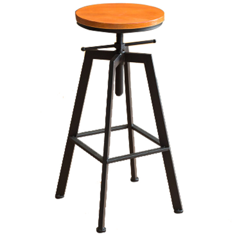 1pcs New Retro Round Wood+Metal Stools Height Adjustable Bar Stools Counter Height Swivel Stool Best Quality