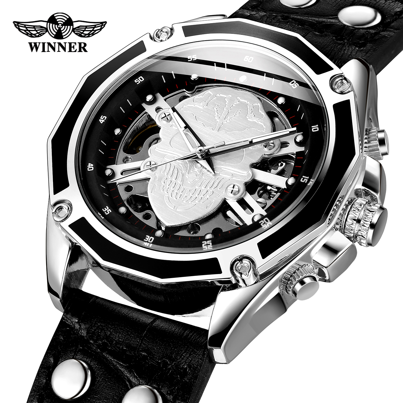 WINNER Brand Black Silver Skull Men Self-wind Mechanical Watch 3D Skeleton Dial Genuine Leather Strap Luminous HandClock