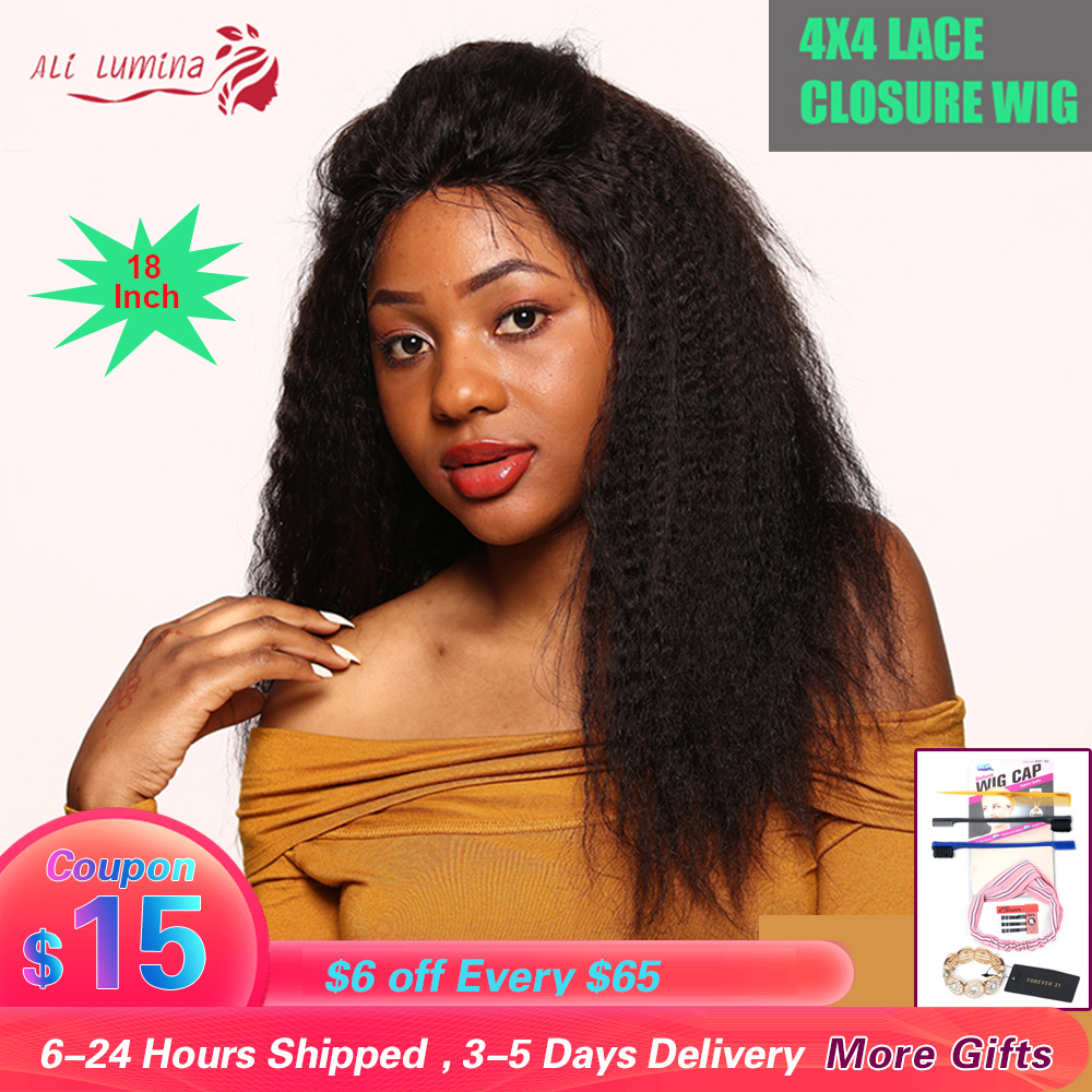 Brazilian Kinky Straight 4x4 Closure Wig Pre Plucked Natural Color 180% Density Remy 4x4 Lace Closure Human Hair Wigs For Women