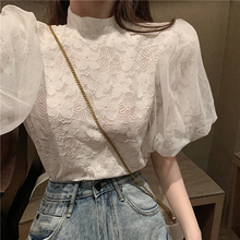 Girls Lace Blouses Shirts Tees Female Half Turtleneck Vintage Short Lantern Sleeve Chic Blouses Tops For Women DX0610