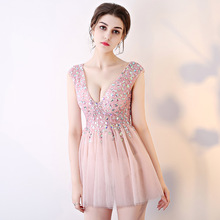 Sexy Prom Dresses 2019 Beaded Mini Pink Puffy Party Nude Gown Dress See Through Nightclub Backless Elegant