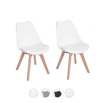EGGREE Kitchen Chairs Modern Design Dining Chairs Retro Lounge Chairs Solid Wood Beech Legs,Kitchen chairs Padded Seat, White guidecraft classic espresso extra chairs