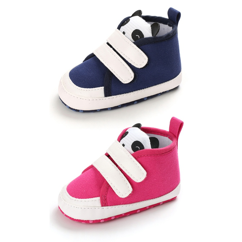 Cute Panda Baby Boys Shoes Canvas Girls Shoes Anti-Slip Casual Cartoon Sneakers Toddler Soft Soled Anti Slip Walking Shoes