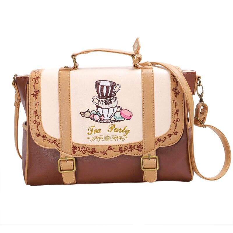 Japanese lolita age reduction embroidery bag small fresh female backpack college JK bag high school A4 school bag shoulder 3way