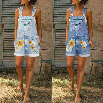 Women Jumpsuit Denim Playsuits Floral Print Short Wide Leg Pants Summer Sleeveless Washable Casual Jean Playsuit Loose Rompers summer strapless floral rompers women bow tie sleeveless print jumpsuit casual wide leg loose playsuit overalls