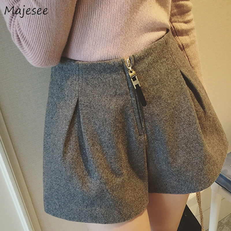 Shorts Women Winter Solid Zipper Elegant Loose 2XL Woolen Blends Womens Clothing Streetwear High Waist All-match Casual Harajuku