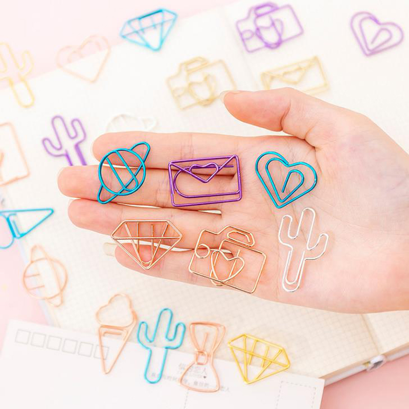 10 Pcs/pack Cute Cactus Star Planet Heart Ice Cream Camera Clip Hollow Metal Binder Clips Notes Letter Paper Clip Stationery