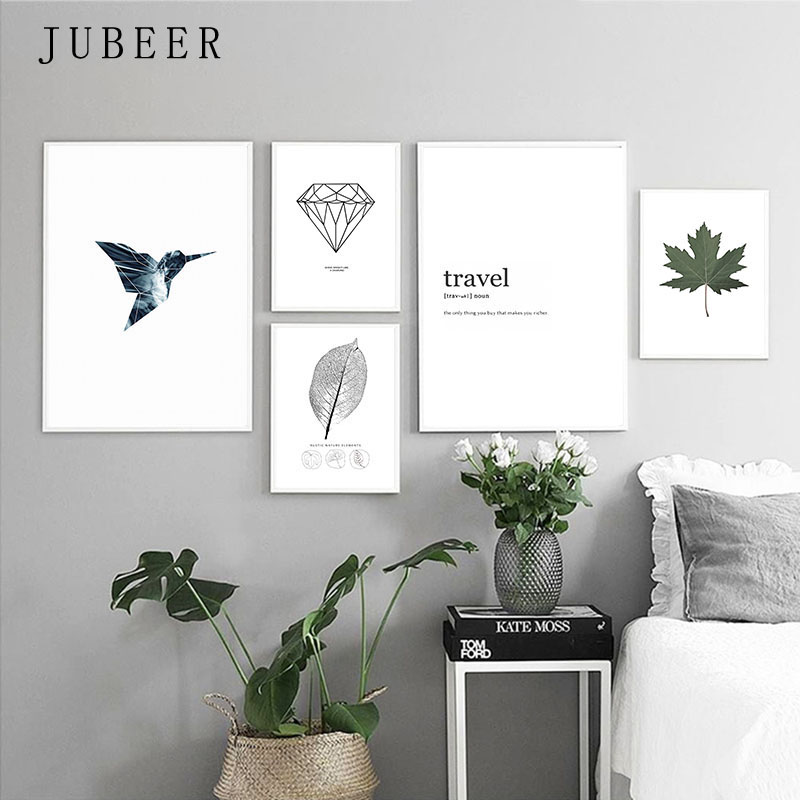 Nordic Style Poster Minimalist Art Canvas Painting Bird Leaf Black And White Prints Wall Art Decoration Painting For Living Room