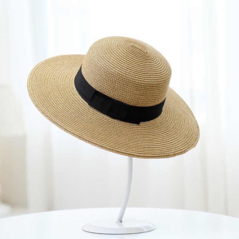 Womens'Panama Sun หมวก Boater Handwoven หมวกสำหรับฤดูร้อน