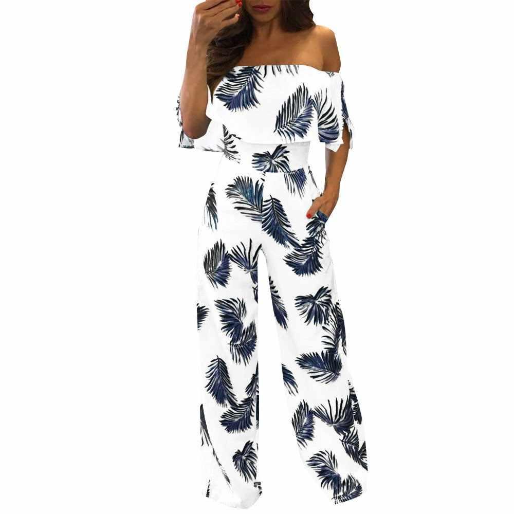 С открытыми плечами листья тропических растений печатных комбинезон женские летние повседневные с коротким рукавом блестящие Свободные Комбинезоны комбинезон широкие брюки
