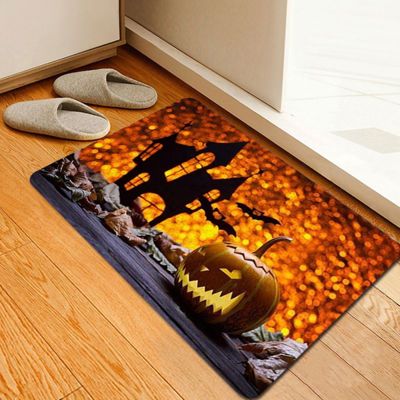 Halloween Pattern Rug Home Living Room Anti-slip Small Carpet Pumpkin Skull Witch Water-absorbent Floor Mat Halloween Decor