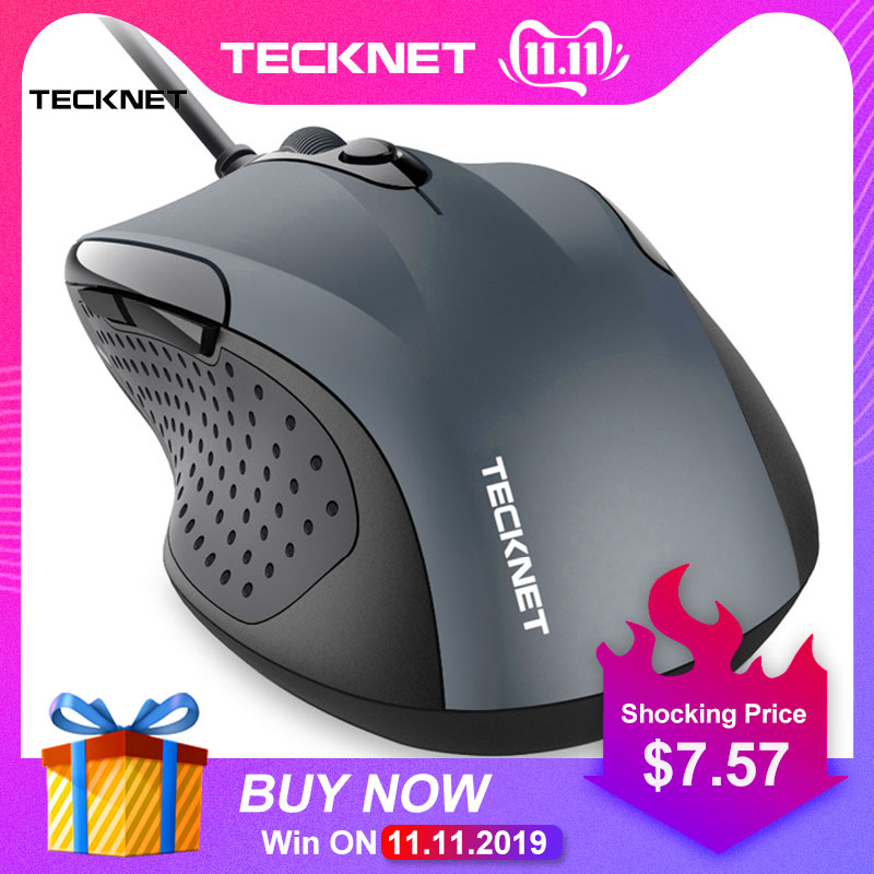 TeckNet Mouse Pro S2 High Performance USB Wired Mouse 6 Buttons 2000DPI Gamer Computer Mouse Ergonomic Mice With Cable Desktop