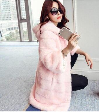 Women Plus Size Colored Casual Faux Fur Coat Hood Ladies 2018 Autumn Winter Elegant Pink Warm Soft Outwear Oversize Jacket