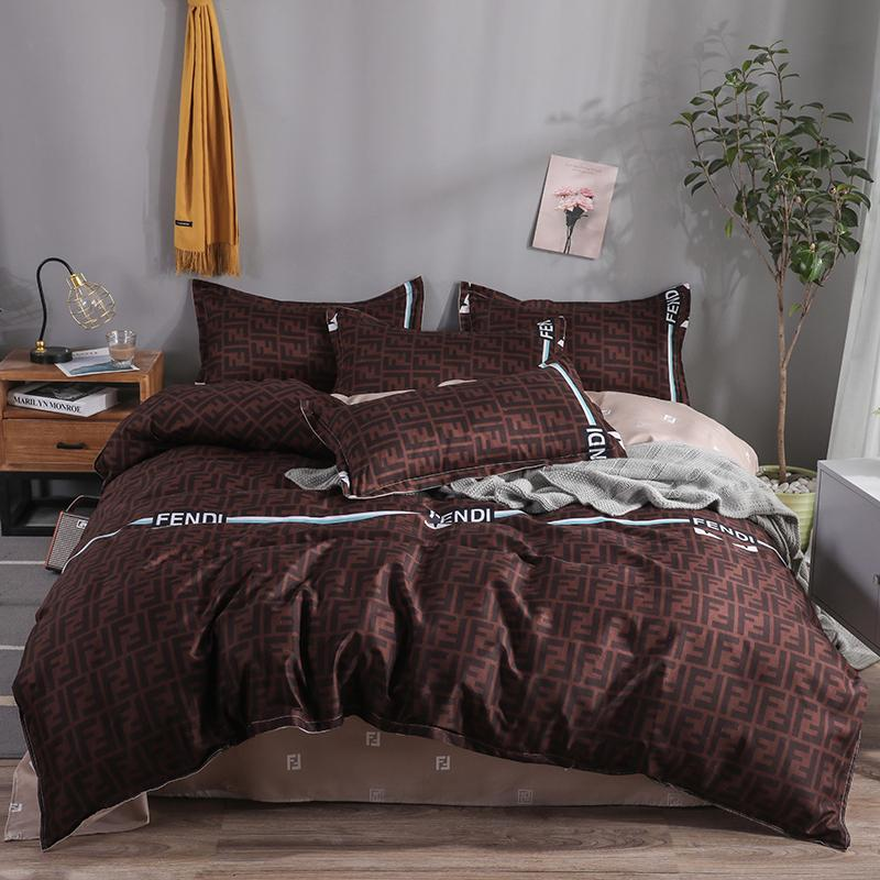 Good Stuff Men Style Letter F Print BeddingSet Cheap Brown Solid Color QuiltCover Khaki Bedsheet 4pcs Queen King Bed Cover|Bedding Sets| - AliExpress