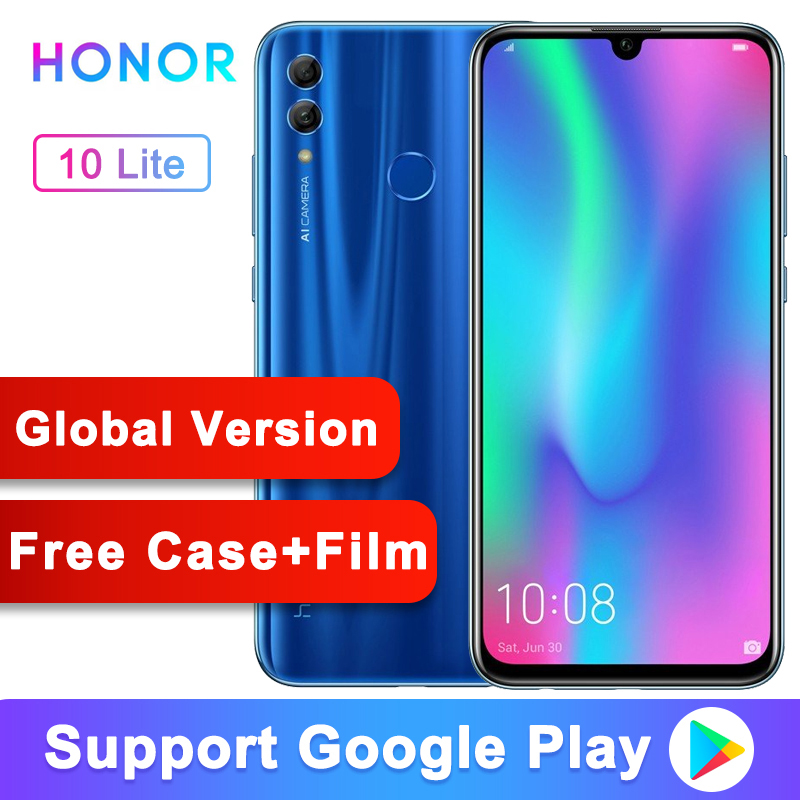 "Global Version Honor 10 Lite Mobile Phone Android 9.0 6.21"" FHD 2340X1080 Font 24MP AI Camera Fingerprint 710 Octa Core"