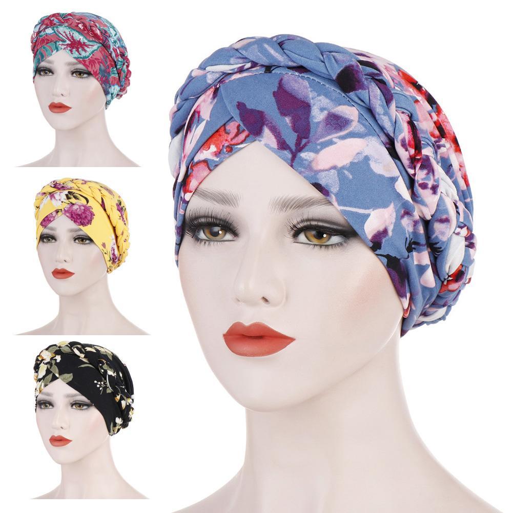 Chic Women Floral Print Elastic Head Beanie Scarf Turban Hat Cancer Chemo Hair Loss Cap Head Wrap Cap Gifts Elastic Head Scarf