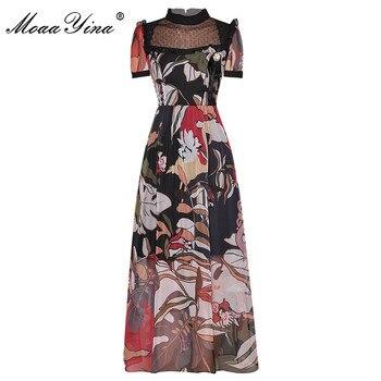 MoaaYina Fashion Designer dress Summer Women Dress Stand collar Short sleeve Floral-Print Chiffon Dresses bohemian round collar short sleeve asymmetrical chiffon dress for women