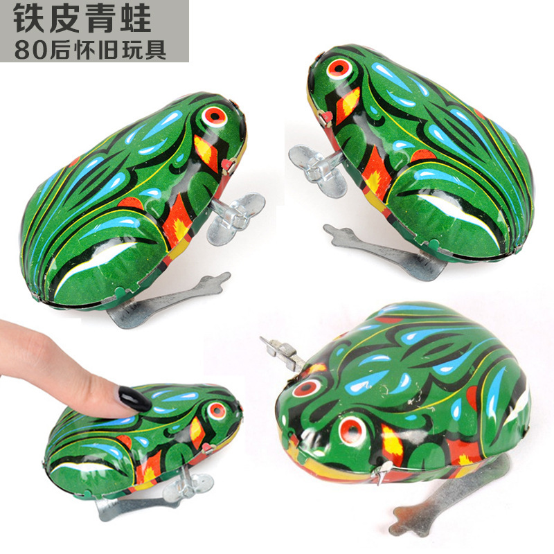 Douyin Tin Toys Frog Small Toy Frog Children Spring Frog Jump Unisex Bounce Cock 80 After China