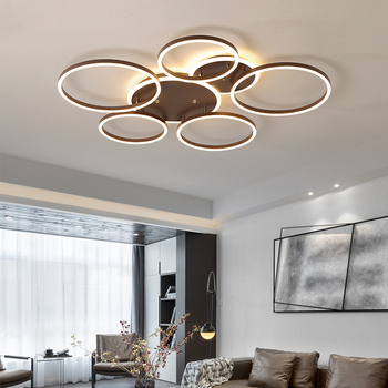 Coffee Inner Glow Modern Ceiling Lights For Living Room Dining Room Circle Rings Acrylic Aluminum Body LED Ceiling Lamp Fixtures