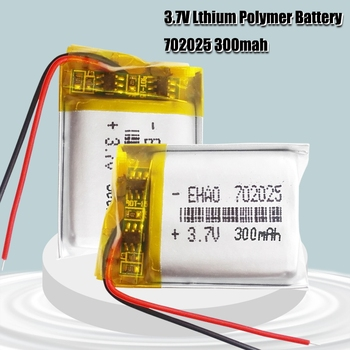 3.7V 300mAh 702025 Li-polymer Rechargeable Battery for Mp3 Bluetooth headset speaker video recorder wireless mouse Li-ion cells image