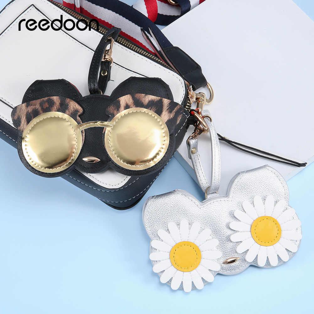 Reedoon óculos de Sol Caso das mulheres de Couro PU Bonito Dos Desenhos Animados Multi-função de Olho Óculos de Proteção Saco De Armazenamento