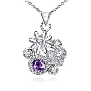 Fashion Silver Floral Flower Purple Necklace Pendant Crystal Necklaces Stone Jewelry Gift Bulk Items Wholesale SPN095-B 2021 New image