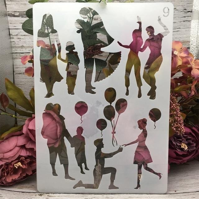 4Pcs/Set A4 Family Lover Children Parent DIY Layering Stencils Painting Scrapbook Coloring Embossing Album Decorative Template 5