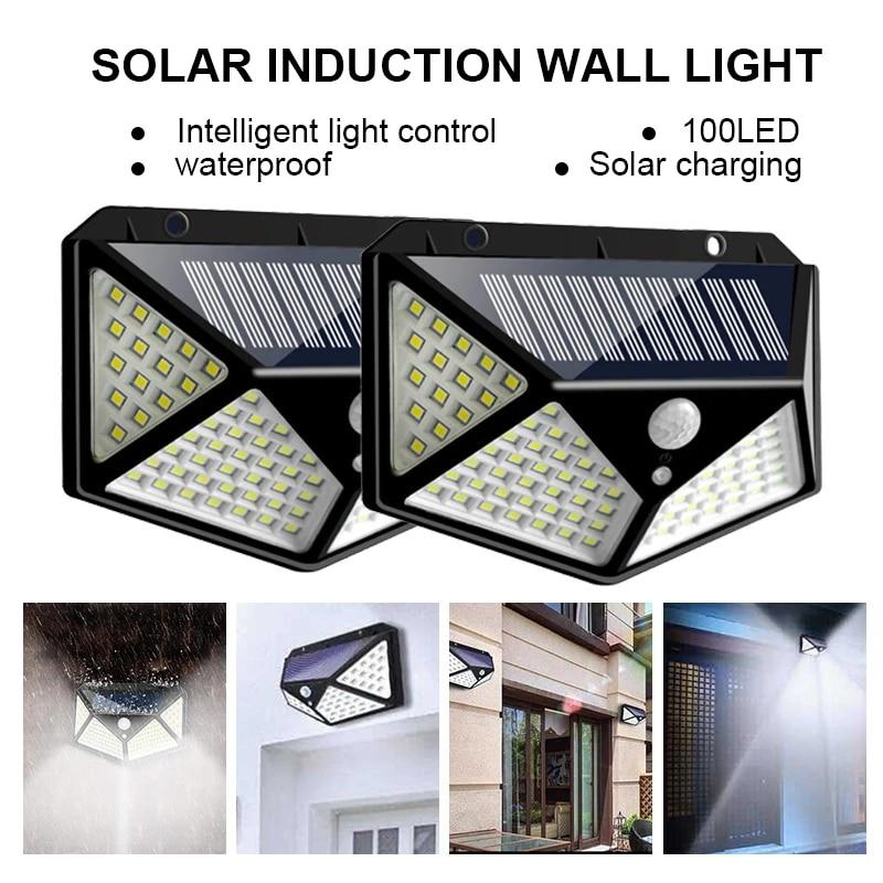 100LED Solar Power PIR Motion Sensor Wall Light Outdoor Garden Lamps Waterproof