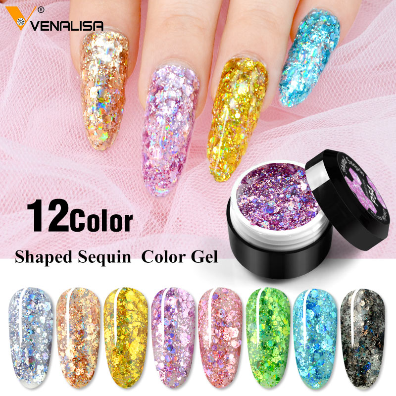 Venalisa Starry Platinum Glitter Painting Gel  Nail Varnish Semi Permanent Lacquer Shape Sequin Varnish Long Lasting Nail Gel