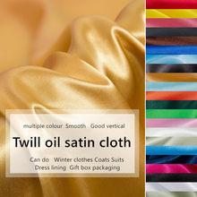 Cetim tecido de poliéster highend cetim vestido simulação pano de seda presente caixa forro pano cetim cetim cor sólida costura tecido