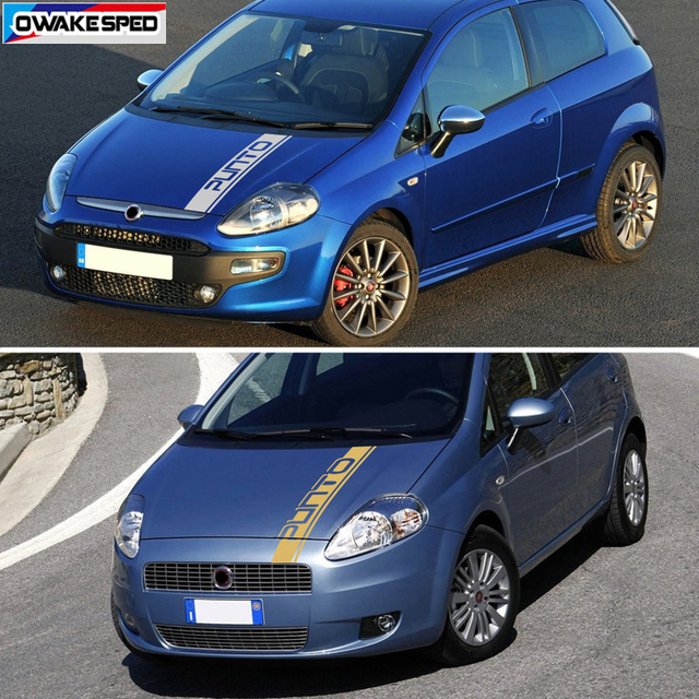 Car Hood Bonnet Stripes Auto Engine Cover Decor Vinyl Decals For-FIAT Punto ABARTH Racing Styling Stickers Exterior Accessories 3
