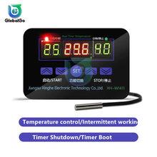 Controlador de temperatura Digital 110, 220V, 12V, interruptor, termostato, termorregulador, relé 20A, XH-W1411, Sensor de temperatura inteligente