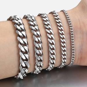 Womens Mens Bracelet Stainless Steel Curb Cuban Silver Color Black Gold Bracelet for Men Davieslee Fashion Jewelry LKBM03(China)