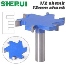 "SHERUI 1pc 1/2"" Shank 12mm shank 6 Edge T Type Slotting Cutter Woodworking Tool Router Bits For Wood Industrial Grade Milling Cu"