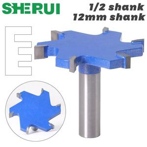 """Image 1 - SHERUI 1pc 1/2"""" Shank 12mm shank 6 Edge T Type Slotting Cutter Woodworking Tool Router Bits For Wood Industrial Grade Milling Cu"""