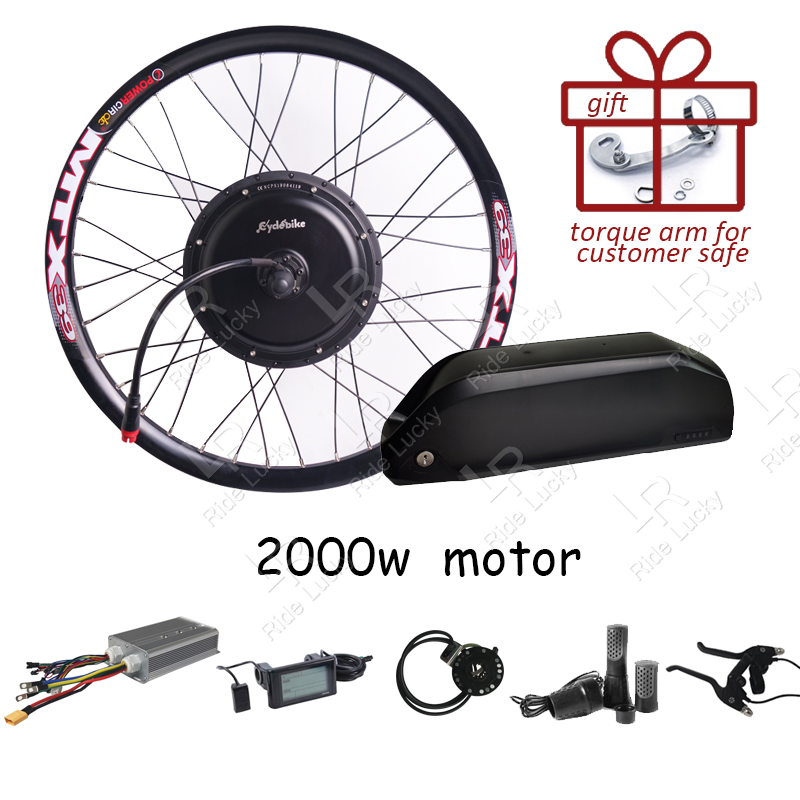 60-75KM/H speed 48v-<font><b>60v</b></font> <font><b>2000w</b></font> e bike conversion kit with 52v 17ah lithium battery electric bike conversion kit image