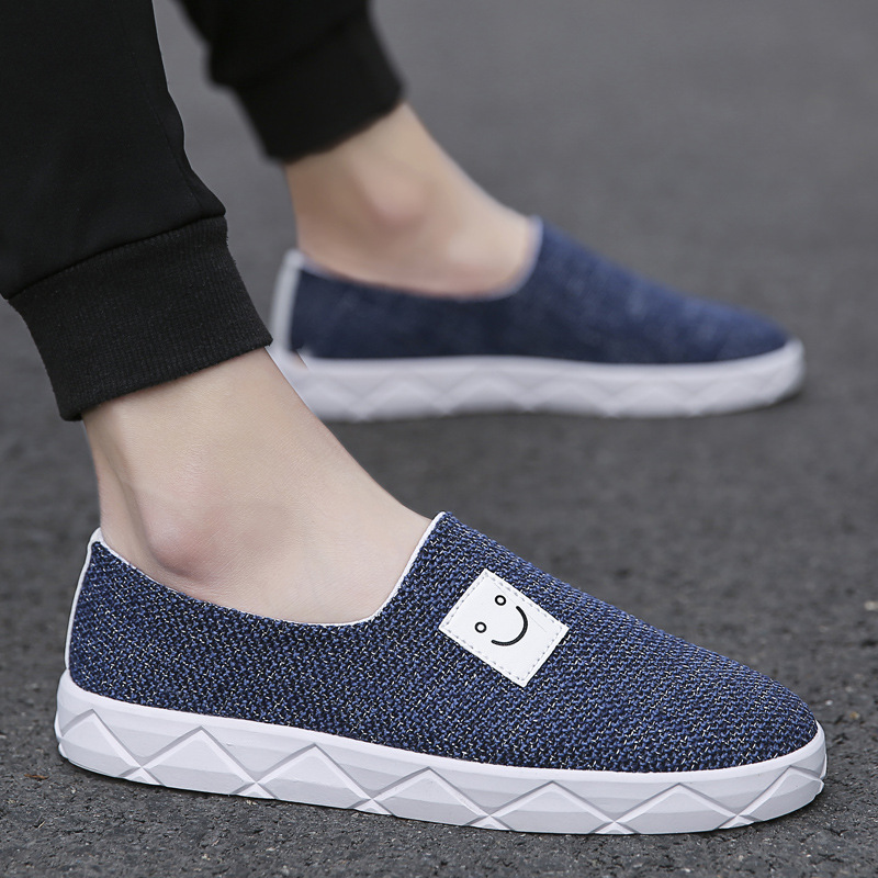 Casual Mens Korea linen cloth breathable slip on loafers low top summer shoes US