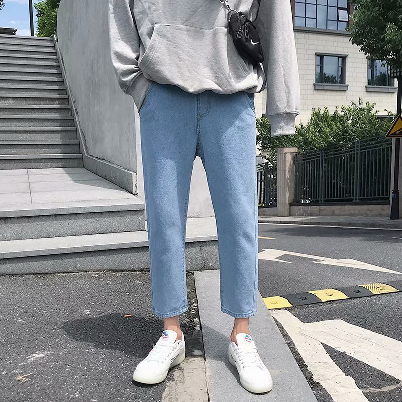 INS Super Fire Jeans Men's Harajuku Wind Ripped Pants Loose-Fit 9 Sub-Light Color Skinny Students Tide Online Celebrity Capri Pa