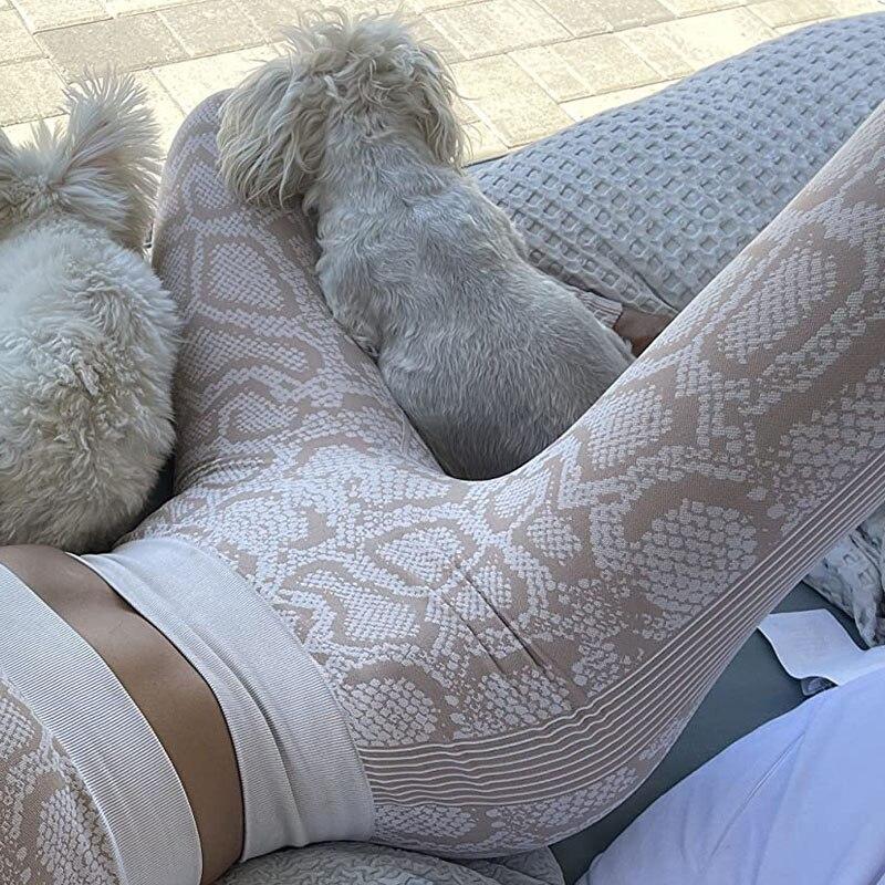 Модные штаны для йоги, леопардовые спортивные Леггинсы со змеиным принтом, бесшовные спортивные женские колготки с высокой талией, леггинс...