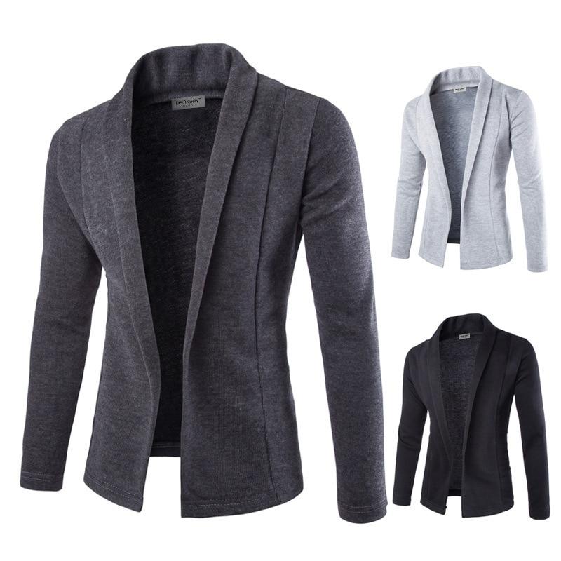 Mens Solid Blazer Cardigan Long Sleeve Casual Slim Fit Sweater Jacket Knit Coat LF88