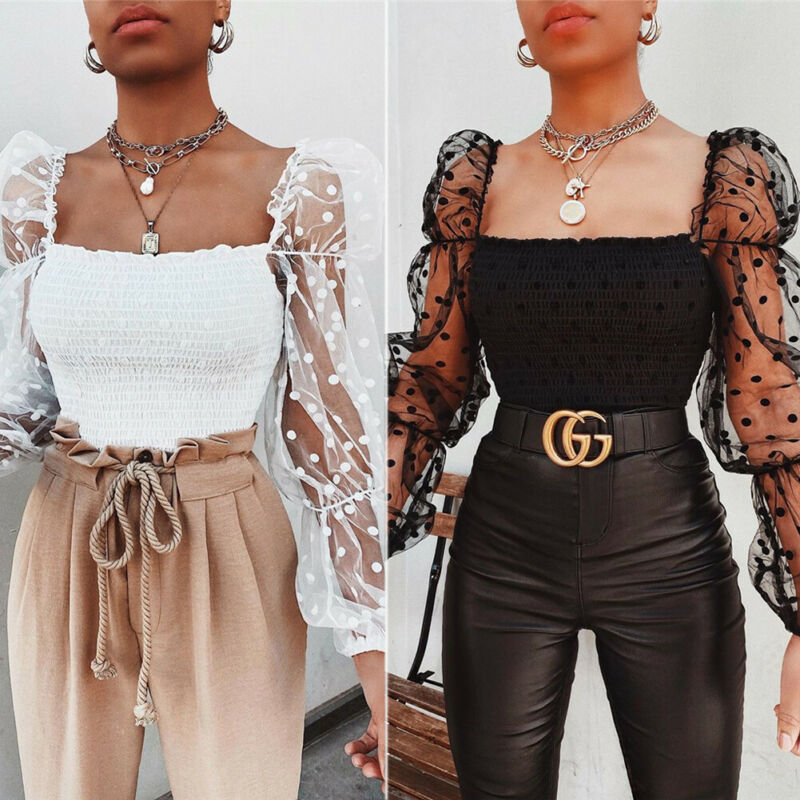 Women Square Collar Blouse 2020 New Arrival Female Summer Puff Ruffle Long Sleeve Shirt White Black Casual Ruched Blouse Tops