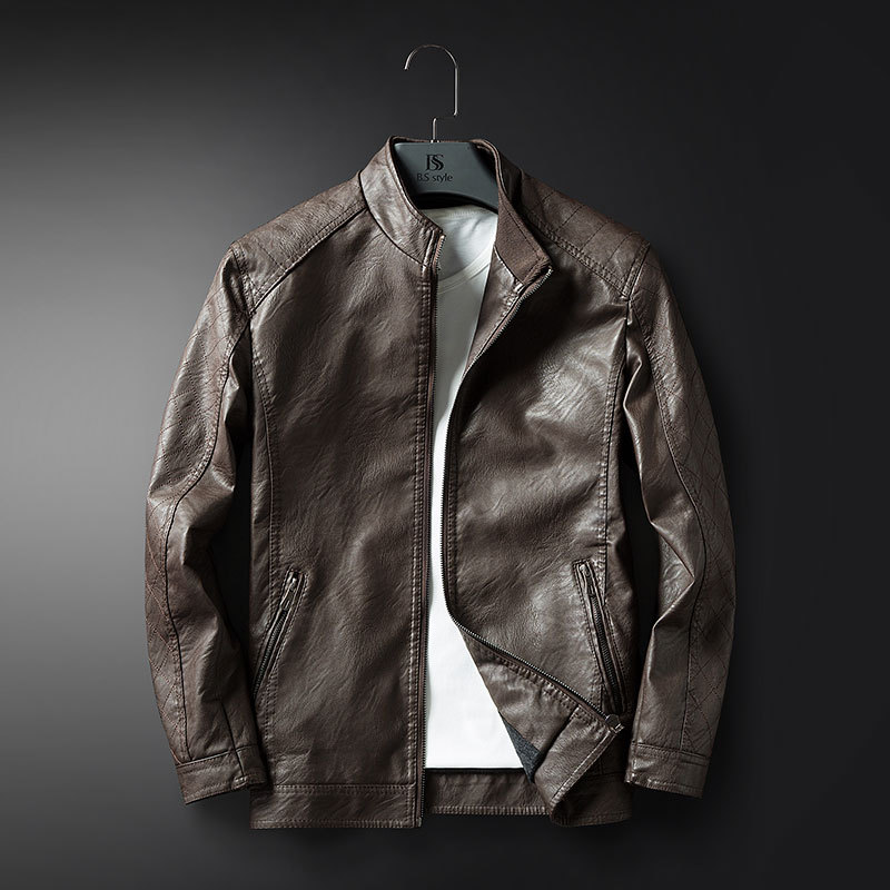 Spring And Autumn New Style Men Stand Collar Japanese-style Popular Brand Slim Fit PU Leather Coat Casual Washing Locomotive Lea