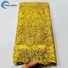 Fabric Embroidered Nigerian African Lace Yellow High-Quality Tulle Wedding-Party French