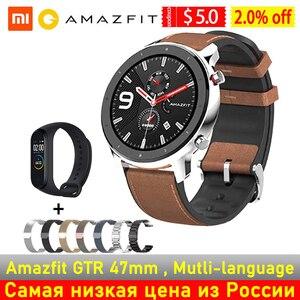 Image 1 - Amazfit GTR 47mm 42mm GPS montre intelligente hommes 5ATM étanche Smartwatch 24 jours batterie Version mondiale Huami montre intelligente