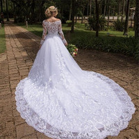 Vintage Wedding Dresses A Line 2020 Scoop Neck Lace Appliques Long Sleeves Plus Size African Wedding Dress Bridal Gowns