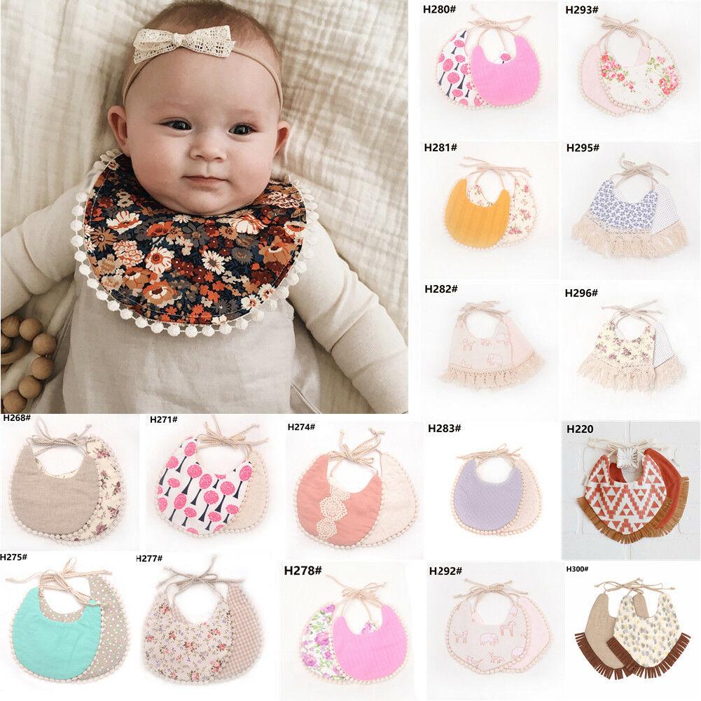 Hot Sale 1pcs Baby Bibs Cotton Floral Print Tassles Bibs Burp Cloths Newborn Feeding Nursing Bandana Cloths