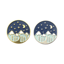 New Mountain Pins Night Sky Brooches Star Galaxy Badges Traveling Lapel Travel Lover Gifts